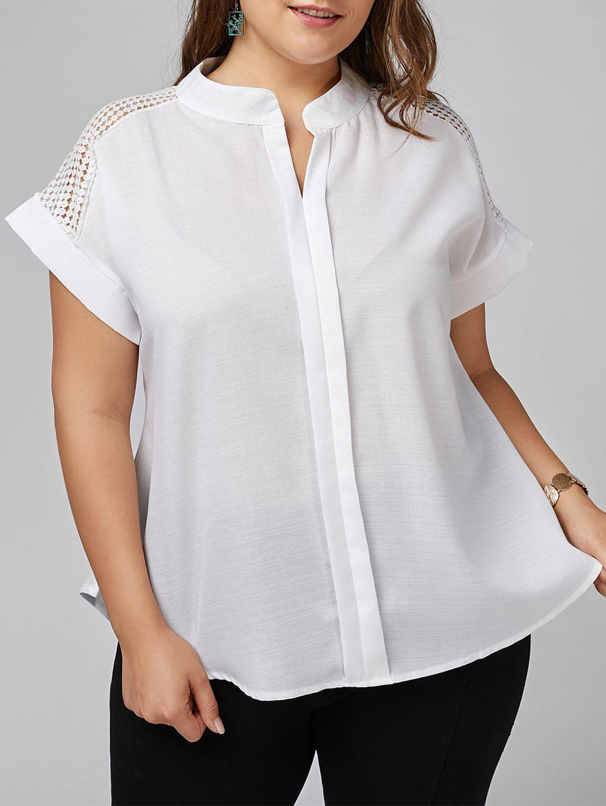 Plus Size Openwork V Neck Basic BlouseWOMEN<br><br>Size: 5XL; Color: WHITE; Material: Cotton Blends,Polyester; Shirt Length: Long; Sleeve Length: Short; Collar: V-Neck; Style: Fashion; Season: Spring,Summer; Embellishment: Hollow Out; Pattern Type: Solid; Weight: 0.2000kg; Package Contents: 1 x Blouse;