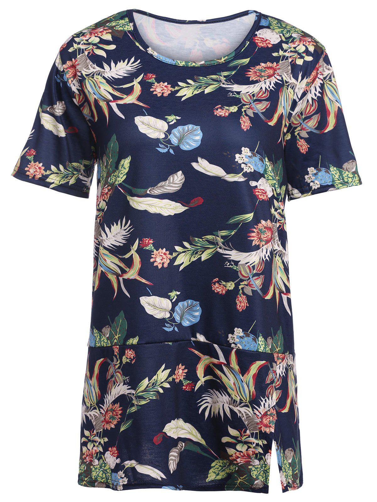 Trendy Plus Size Tropical Floral  Printed T-shirt