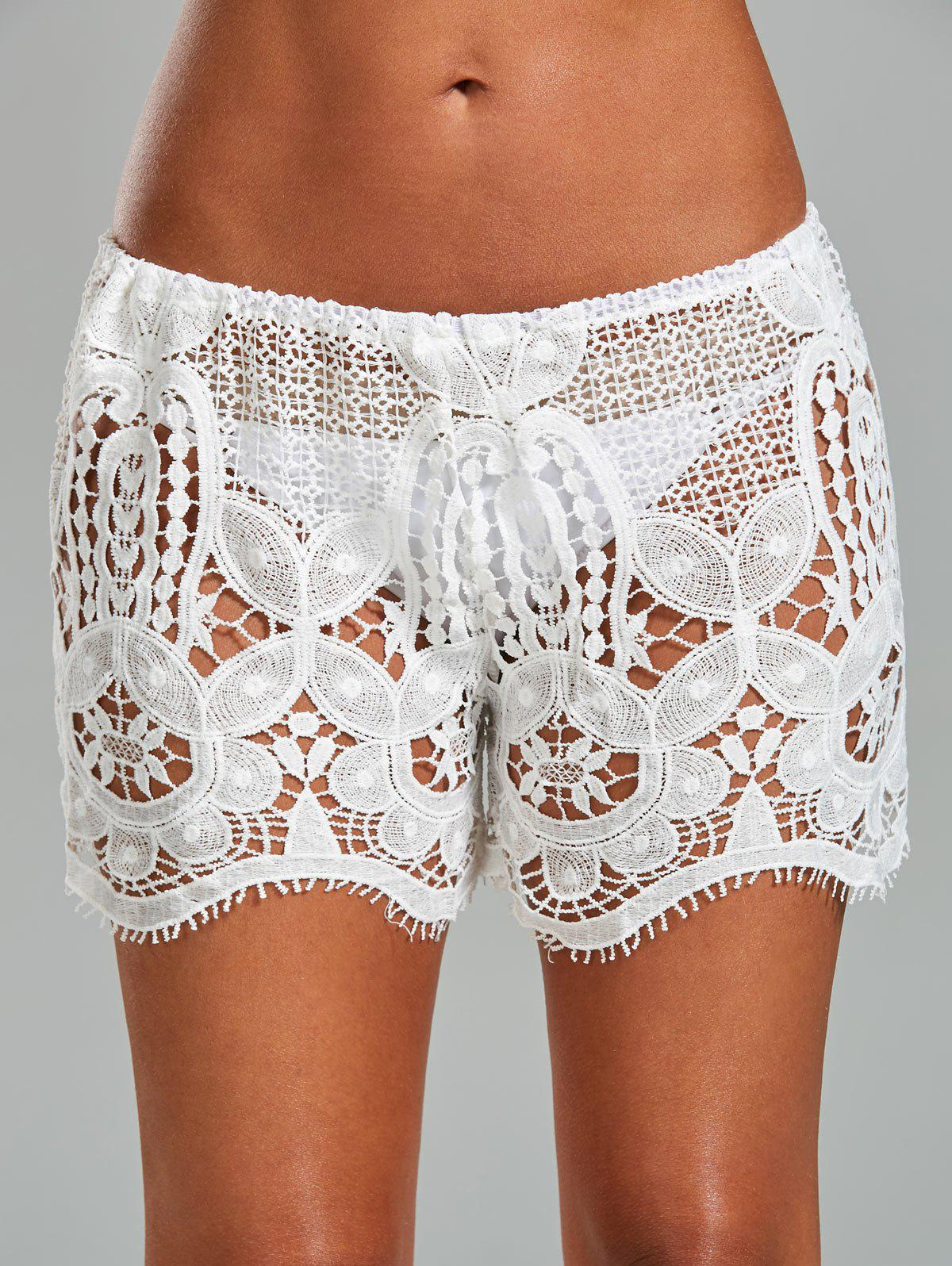 17 Off Crochet Lace Swimsuit Cover Up Shorts Rosegal