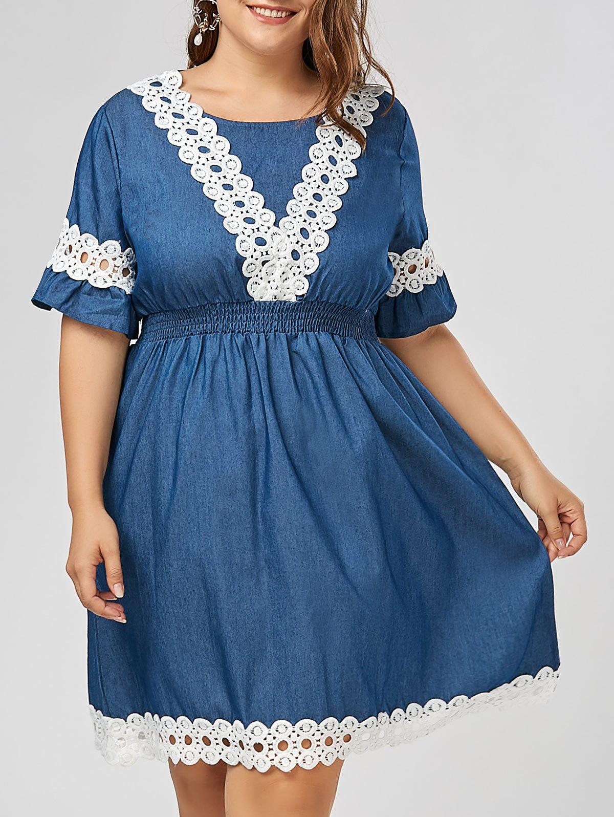 Best Plus Size Lace Trim Chambray Dress with Sleeves