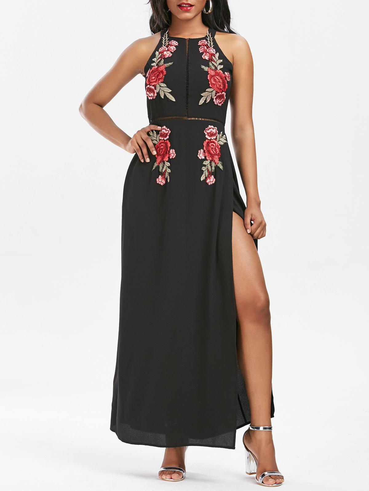 Affordable Embroidered Backless Thigh High Slit Maxi Dress