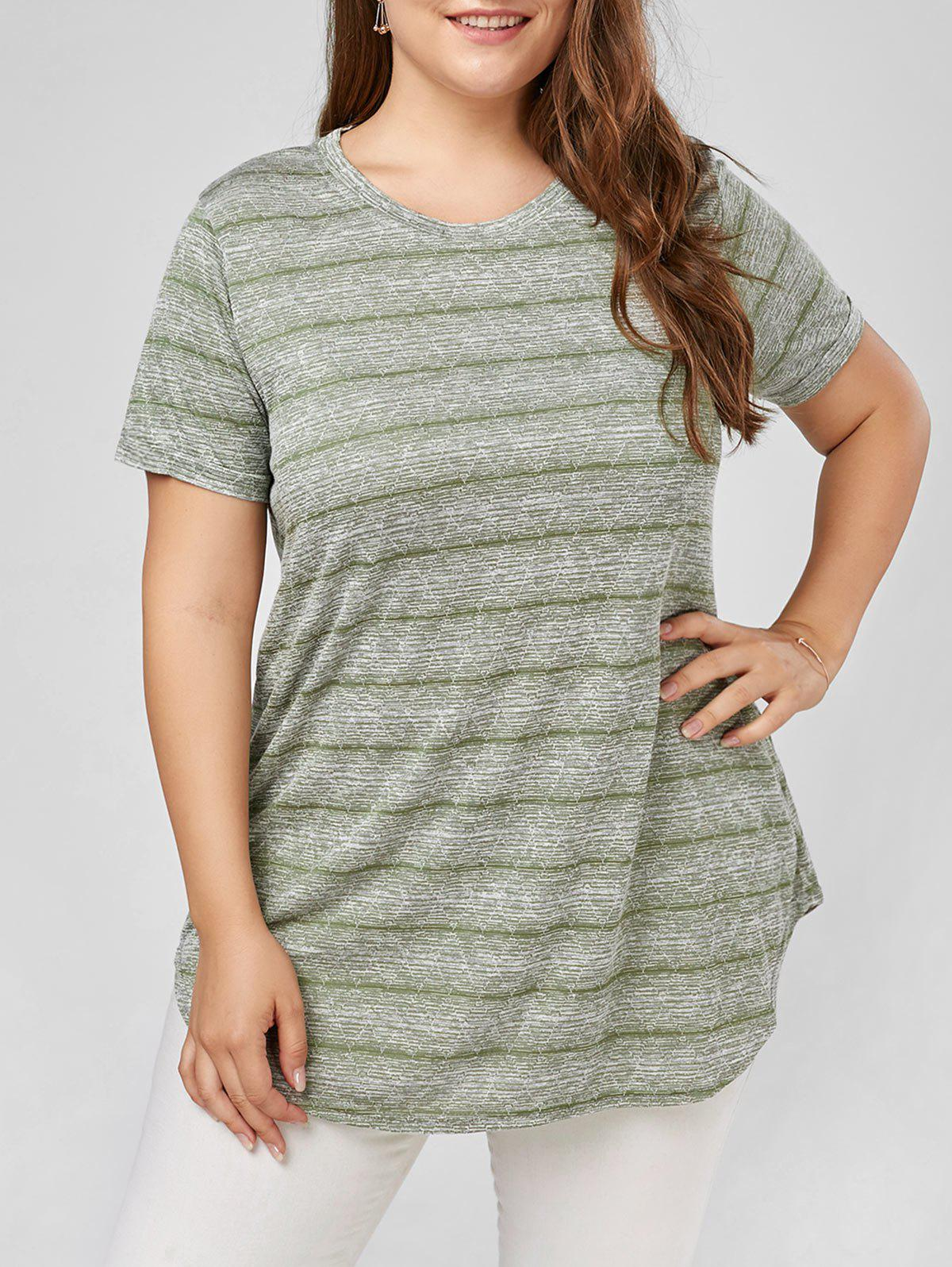 Buy Plus Size Marled Stripe  Plain T-shirt
