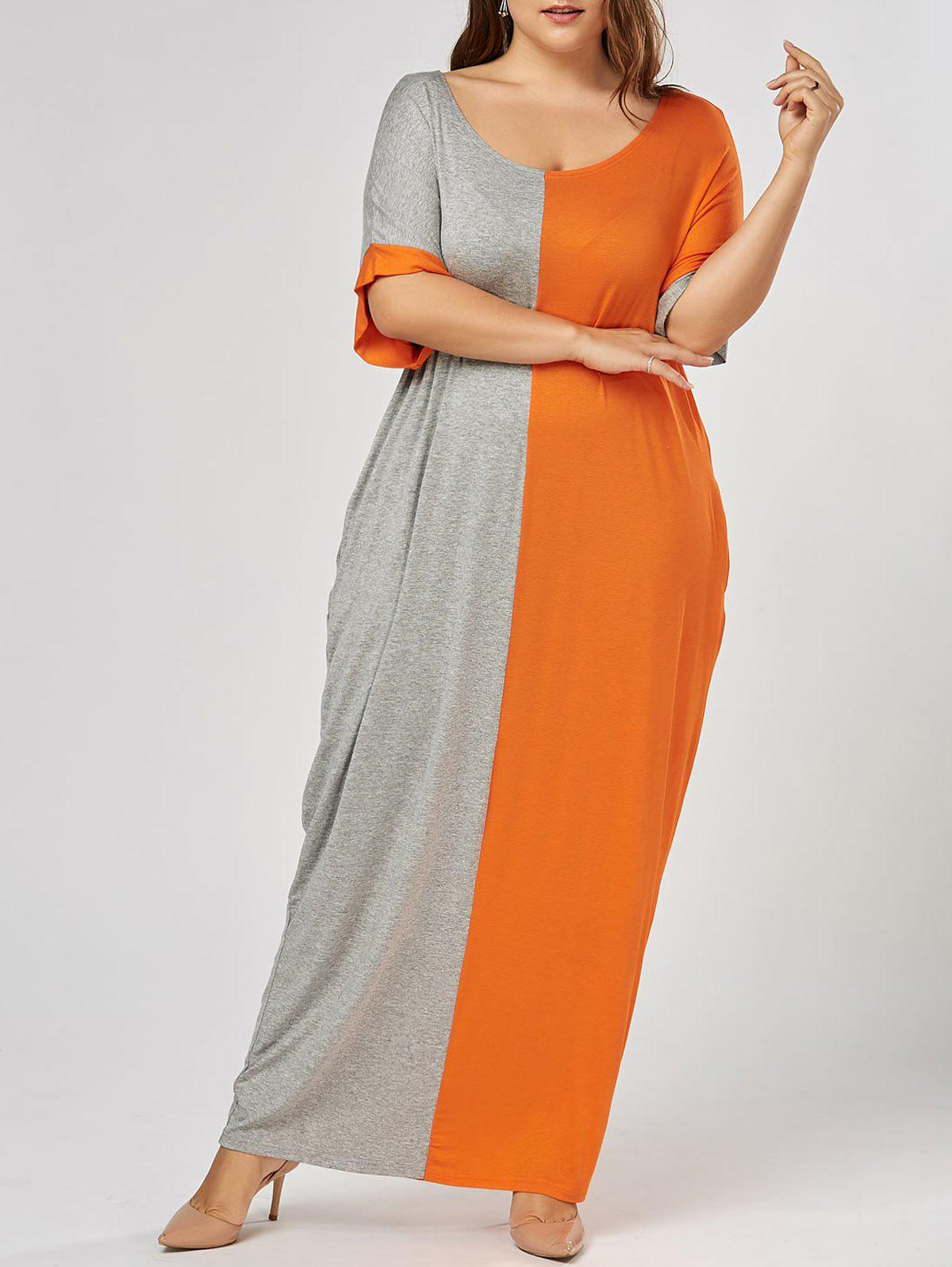 Color Block Plus Size Tee Maxi DressWOMEN<br><br>Size: XL; Color: GREY AND ORANGE; Style: Casual; Material: Cotton,Cotton Blend,Polyester; Silhouette: Straight; Dresses Length: Ankle-Length; Neckline: Scoop Neck; Sleeve Length: Short Sleeves; Pattern Type: Others,Print; With Belt: No; Season: Spring,Summer; Weight: 0.4300kg; Package Contents: 1 x Dress;