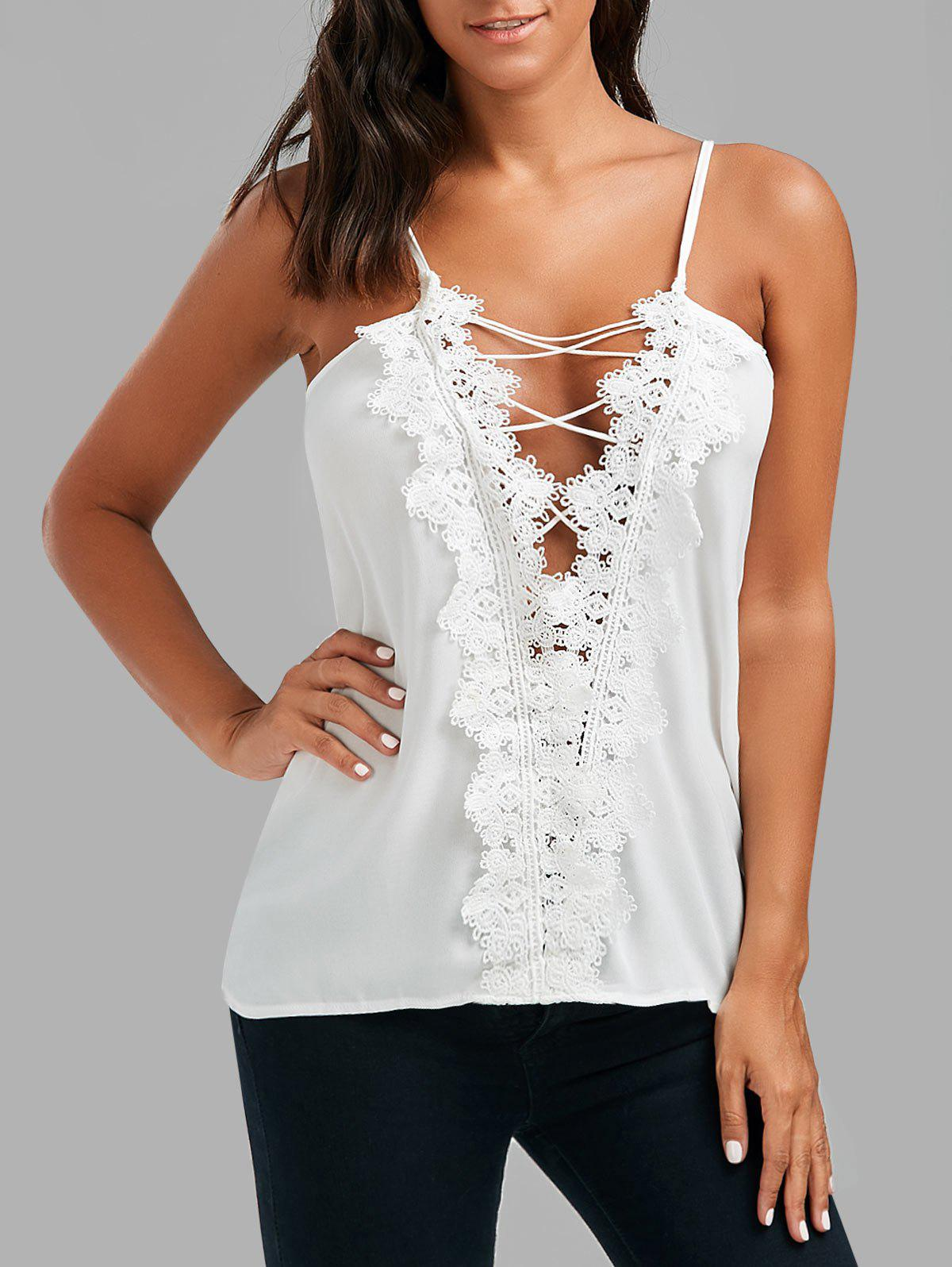 Affordable Lace Up Lace Low Cut Cami Top