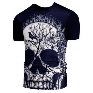 3D Skull Branch Printed Round Neck T-shirt