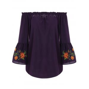 Plus Size Flare Sleeve Embroidered Off the Shoulder Blouse - Deep Purple - 5xl