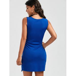Hollow Out Bodycon Dress - BLUE M