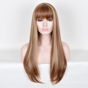 Full Bang Long Highlight Silky Straight Colormix Synthetic Wig