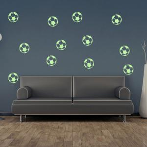 Luminous Cartoon Football Children's Bedroom Wall Sticker - NEON GREEN 12PCS