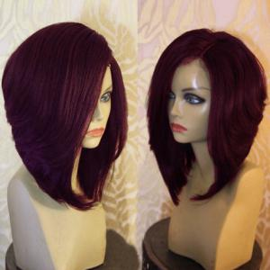 Side Part Short Natural Straight Synthetic Wig - Wine Red