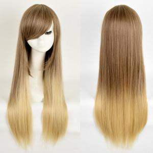 Side Bang Long Straight Ombre Synthetic Wig - Colormix