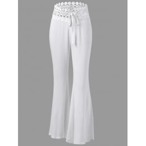 Crochet Panel Drawstring Flare Pants - White - 2xl