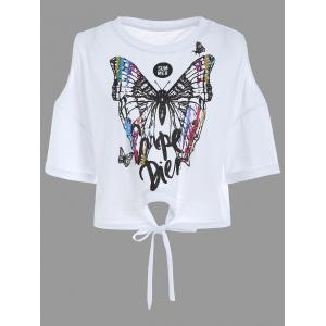 Cold Shoulder Self Tie Butterfly Print Tee