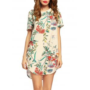 Floral Casual Short Sleeve Tunic Mini Dress