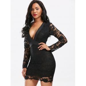 Plunging Neckline Backless Mini Lace Dress -