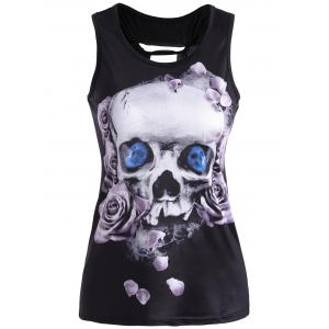 Skull Print Racerback Cutout Tank Top - Light Purple - S