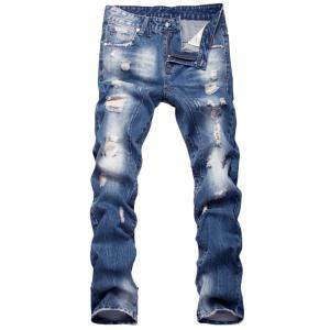 Faded Straight Leg Zipper Fly Distressed Jeans - Blue - 40