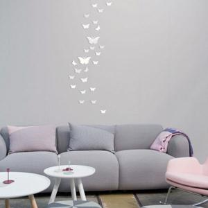 25 PCS Butterflies Removable Mirror Wall Stickers - SILVER