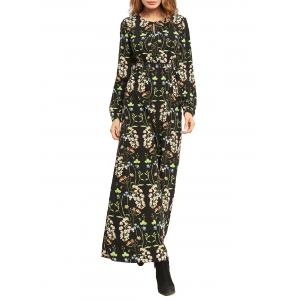 Floral High Waist Long Sleeve Flowing Maxi Dress