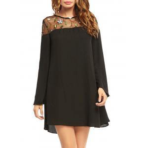 Embroidered Lace Trim Long Sleeve Chiffon Dress - Black - 2xl