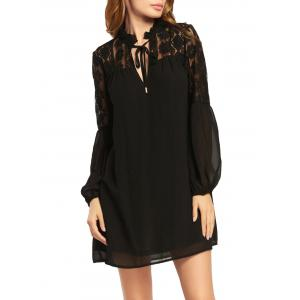 Lace Trim Long Puff Sleeve Chiffon Dress - Black - 2xl