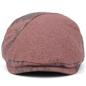 Adjustable Leaf Pattern Embellish Newsboy Cap - PINK