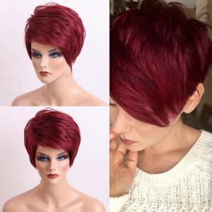 Short Side Bang Layered Shaggy Textured Straight Human Hair Wig - Wine Red