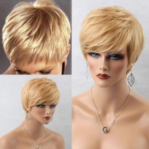 Short Side Bang Layered Straight Human Hair Wig