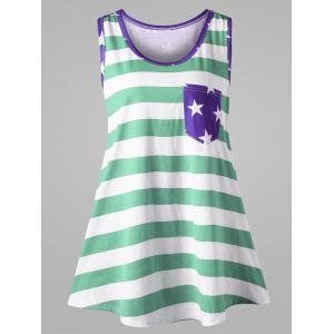 Plus Size Bowknot Embellished American Flag Tank Top - Mint - 5xl