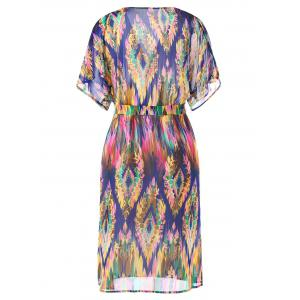 Tie Belt Graphic Flowy Surplice Dress -