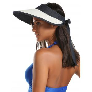 Wide Brim Bowknot Band Open Top Straw Hat - OFF-WHITE