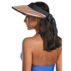 Wide Brim Bowknot Band Open Top Straw Hat - KHAKI