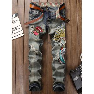 Fly Floral and Graphic Embroidered Faded Ripped Jeans - Gray - 33
