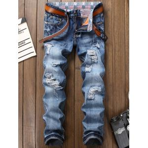Bleach Wash Zipper Fly Faded Ripped Jeans - Blue - 36