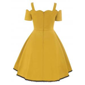 High Waist Lace Trim Vintage Dress - YELLOW 2XL