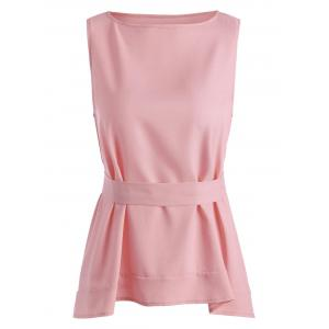 Self Tie Belted Tank Top - Pink - L
