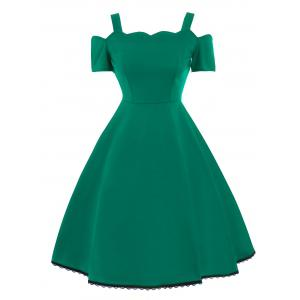 High Waist Lace Trim Vintage Dress - Green - S