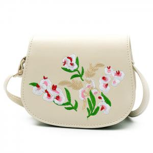 Flower Embroidery Saddle Bag - Off-white
