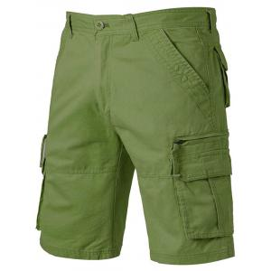 Applique Zip Up Pockets Straight Leg Cargo Shorts - Army Green - 32