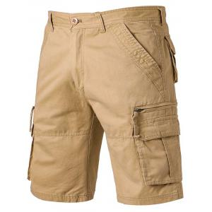 Applique Zip Up Pockets Straight Leg Cargo Shorts - Khaki - 32