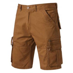 Applique Zip Up Pockets Straight Leg Cargo Shorts - Earthy - 36
