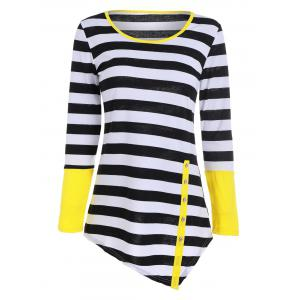 Long Sleeves Buttons Panel Asymmetric Top - Yellow - M