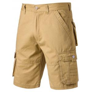 Applique Zipper Fly Pockets Design Cargo Shorts - Khaki - 32