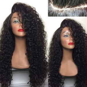 Deep Side Part Shaggy Long Curly Lace Front Human Hair Wig - BLACK