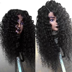 Side Part Shaggy Long Jerry Curly Lace Front Human Hair Wig -