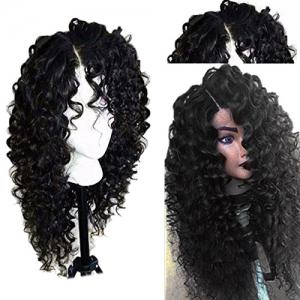 Side Part Shaggy Long Jerry Curly Lace Front Human Hair Wig - Black - 16inch