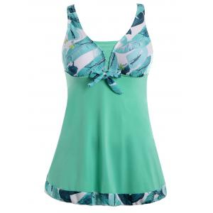 Plus Size Palm Leaf Print Padded Bathing Suit