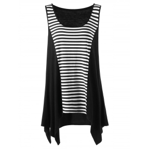 Plus Size Striped Tunic Asymmetric Top - Black White - 5xl