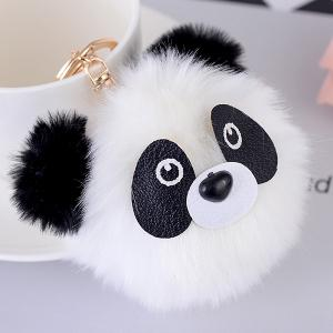 Cartoon Bear Fuzzy Puff Ball Keychain -