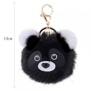 Cartoon Bear Fuzzy Puff Ball Keychain - BLACK